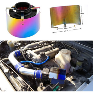 """2.5/"""" to 3.5/"""" Cold Air Intake Filter Heat Shield Neo Chrome Cone Filter"""