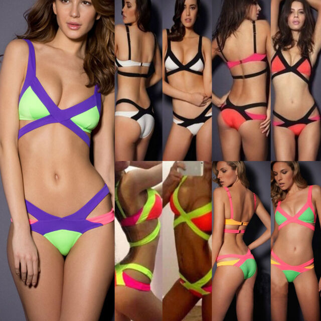New Women's Bandage Swimsuit Push-up Padded Bra Bathing Suit Swimwear Bikini Set