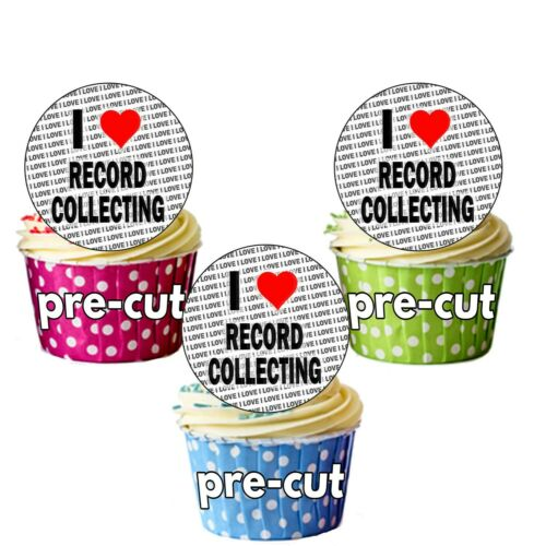 24 Edible Circle Cupcake Toppers Cake Decorations I Love Record Collecting
