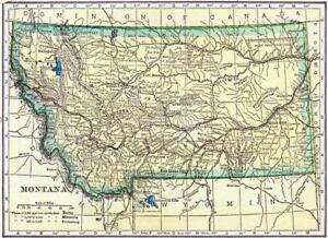 picture relating to Printable Map of Montana referred to as Info relating to MONTANA Typical 1910 Region Street MAP Shiny POSTER Envision Photograph PRINT town 3369
