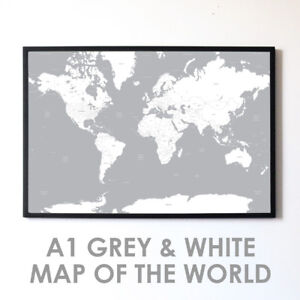 Large a1 grey white map of the world poster print wall art decor image is loading large a1 grey white map of the world gumiabroncs Gallery