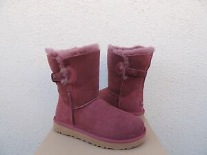 8abb7f01be1 Details about UGG NASH BURGUNDY SUEDE/ SHEEPSKIN DECO STRAP BOOTS, WOMEN US  5/ EUR 36 ~NIB