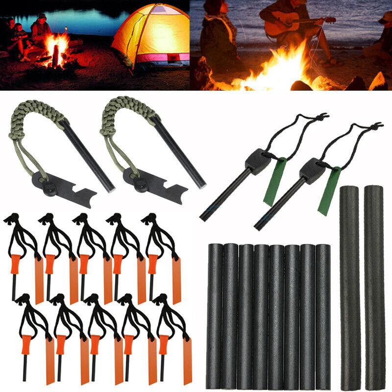 Lots Emergency Magnesium Flint Fire Starter Rod Lighter Survival Gear Camping