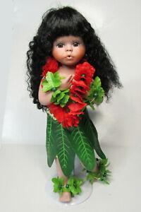"Milestone Porcelain Hawaiian Wahini Hula Girl with Stand Figurine Doll 10"""