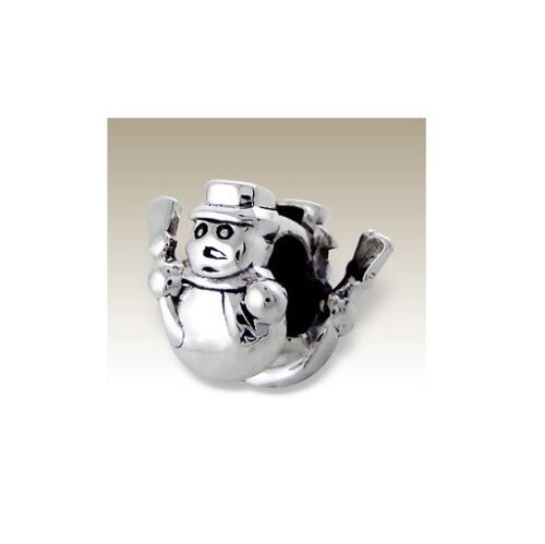 Holiday Snowman Winter .925 Sterling Silver European Charm Bead