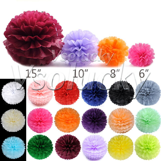 10 Tissue Paper Pom Poms Flower Ball Wedding Party Xmas Decor 15 / 20 / 25/ 37cm