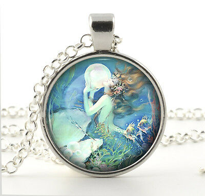 Jewelry Gifts for Women - Silver Mermaid Pendant Necklace - Vintage Style Art