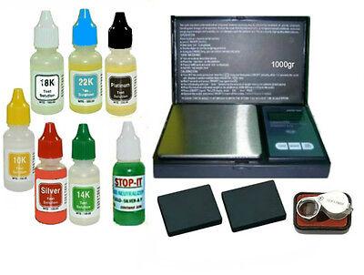 Electronic Jewelry Gram Scale + 7 PCS Gold/Silver/Platinum Acid Tester Test Kit