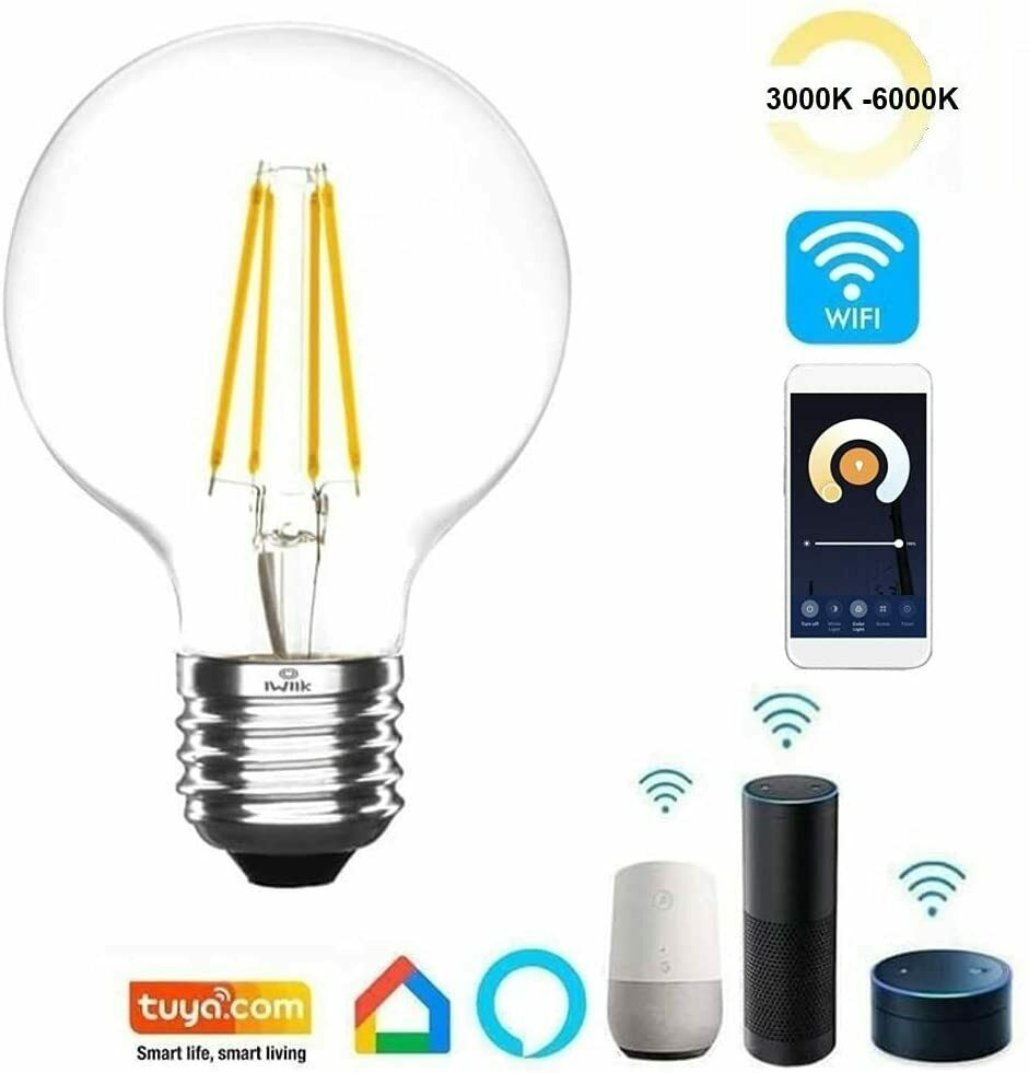 LED WiFi BOMBILLA FILAMENTO LAMPARA VINTAGE REGULABLE SMART E27 7W ALEXA GOOGLE
