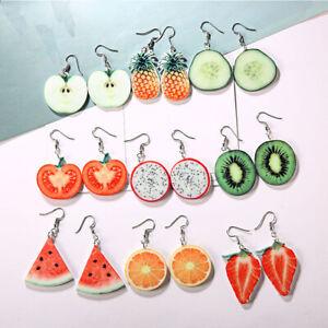 Acryl-Obst-Ohrringe-Erdbeer-Ananas-Tropfen-Ohrringe-Schmuck