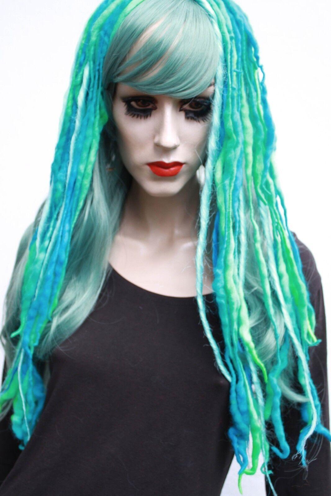 Wool Dread Hair Falls Green Blue Hair Extensions Gothic Mermaid