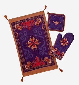 New Disney Aladdin Magic Carpet Oven Mitt Dish Towel Pt Holder Set