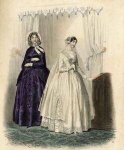 Le-moniteur-de-la-mode-Costume-Robes-Jeune-fille-Gravure-ancienne-originale