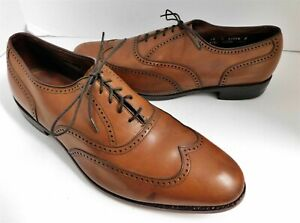 Allen Edmonds Marlow Chestnut Brown Leather Wing Tip Dress Oxfords USA 12 D