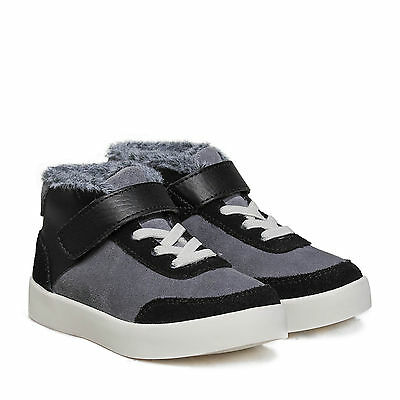 Boy's/Girl's Little Blue Lamb Infant Toddler Suede & Leather Boots Grey & Black