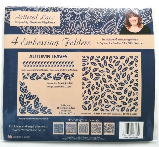 Tattered Lace 'Autumn Leaves' 4 Embossing Folders *New*