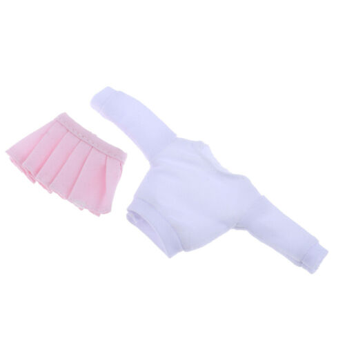 1:12 Long Sleeve T-shirt /& Pink Pleated Skirt for Figure Female Body Accs