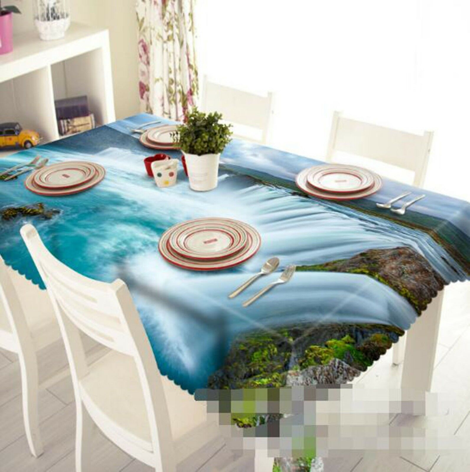 3D Waterfall Weiß 03 Tablecloth Table Cover Cloth Birthday Party Event AJ Lemon