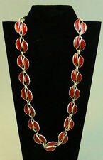 SILVER GILT & RED ENAMEL LEAF DESIGN COLLARETTE NECKLACE DAVID ANDERSEN NORWAY