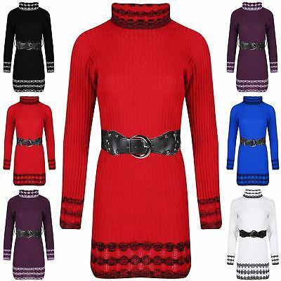 Womens Ladies Contrast Stripes Cowl Neck Cable Knitted Belted Baggy Jumper Dress