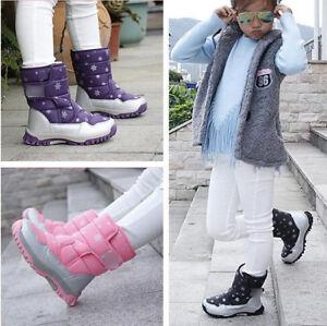 Girls-Waterproof-Fleece-Snow-Boots-Winter-Warm-Shoes-Boots-Kids-Children
