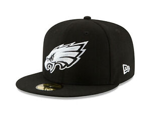 New-Era-59Fifty-Cap-Mens-NFL-Philadelphia-Eagles-Black-White-Logo-Fitted-Hat
