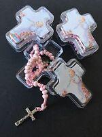 45 Baptism Party Favors Pink Rosary Cross Case Recuerdos Bautizo Roario Bautismo