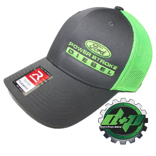 Ford Powerstroke trucker hat richardson Charcoal Gray Green mesh flex fit sm//md