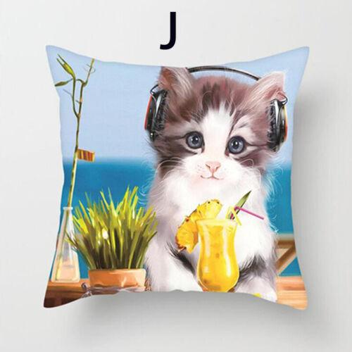 18/'/' Cat Printing Cushion Cover Pillowcase Cotton Linen Pillow Case Square Decor
