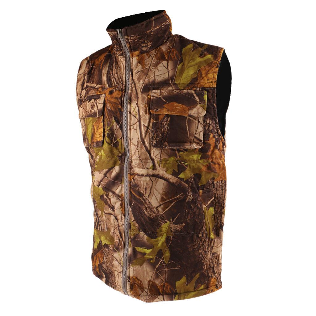 Men's Thermal Fleece Camo Vest Outdoor Hunting Shooting Hiking Climbing