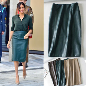 Meghan-Markle-Emerald-Green-Faux-Leather-Midi-Pencil-Skirt-Straight-Panel-Blue
