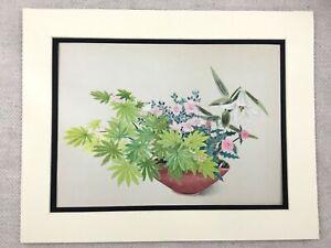 1956 Giapponese Stampa Ikebana Fiore Composizione Aceri Foglie Cardo Gigli