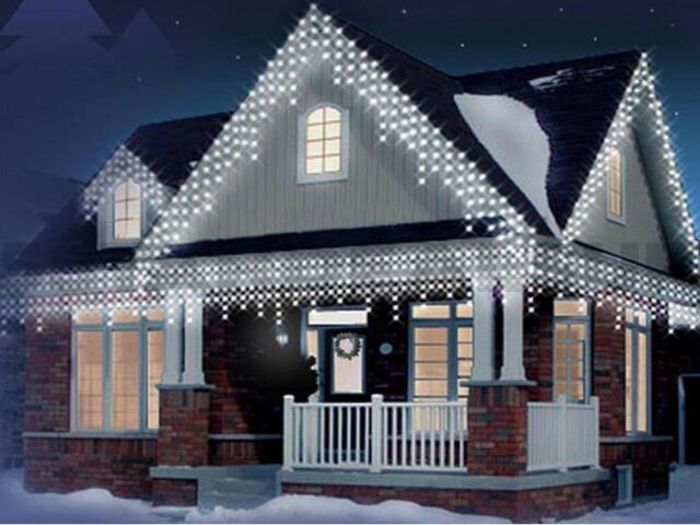 White 480 LED Christmas Icicle Snowing Xmas Lights Party Outdoor - 480 LED White Christmas Icicle Snowing Xmas Lights Party Outdoor EBay
