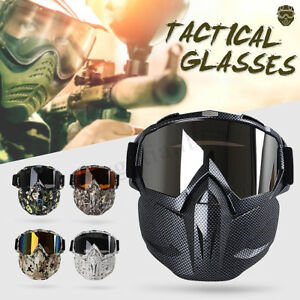 Full-Face-Mask-Hunting-CS-War-Game-Field-Tactical-Airsoft-Paintball-PC-Lens