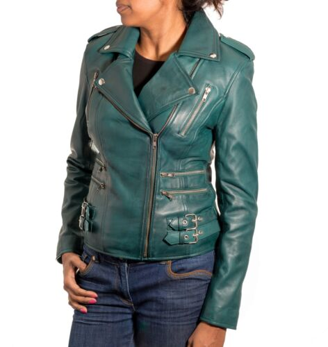 Ladies Teal Green Leather Rock Chick Short Motorbiker Fitted Jacket Zips Galore