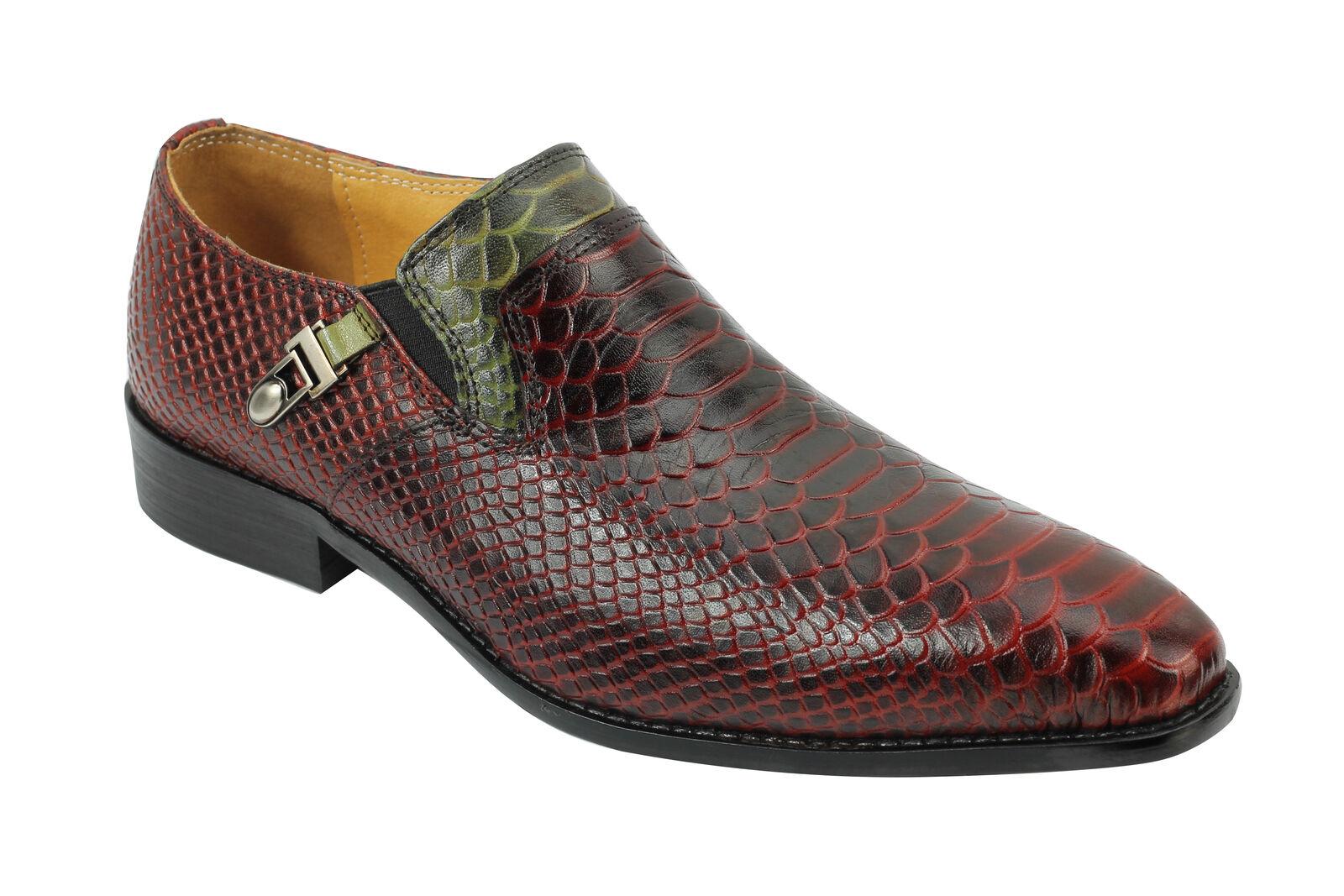 Homme nouveau en cuir véritable noir vin marron peau de serpent look vintage mocassins mod chaussures