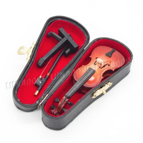 Cello /& Bow 1:12 Wooden Miniature Musical Instrument w// Case /& Stand Gift Decor
