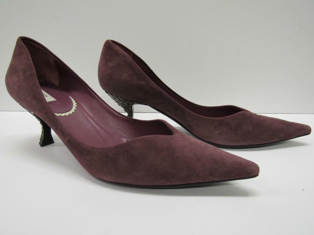 Prada Scalloped Suede Pump Metallic Heels shoes Mauve Womens 7.5 Euro 37.5