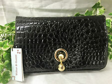 Stunning Wilbur & Gussie Black Patent Leather Clutch Hand Bag With Croc Skin