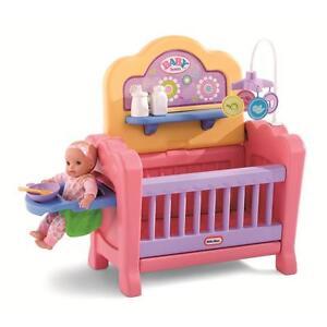 Girls Sturdy Baby Doll Nursery Toy W Crib Playpen High