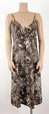 Esprit * Spaghettiträgerkleid * Kleid * Hawaiiblüten * Braun * Leinenmix * Gr 40