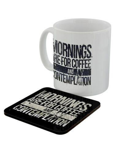 Mug And Coaster Set Coffee And Contemplation White
