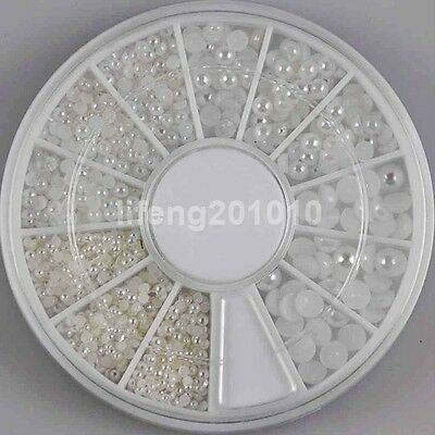2mm 3mm 4mm White Pearl Beads Wheel Nail Art Decoration Beauty Tools Jewellery