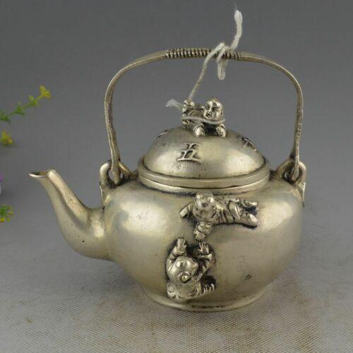 China White Copper Silver Five Kids Bottle Teapot Flagon Wine Pot Statue