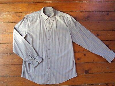 Gap Da Uomo A Maniche Lunghe Cotone Brown & Grigio A Righe Camicia Taglia: Large- Facile Da Lubrificare