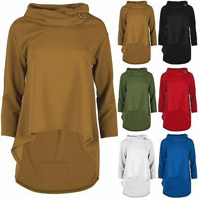 Aktiv Womens High Low Top Ladies Baggy Dip Hem Button Polo Cowl Neck Oversized Jumper