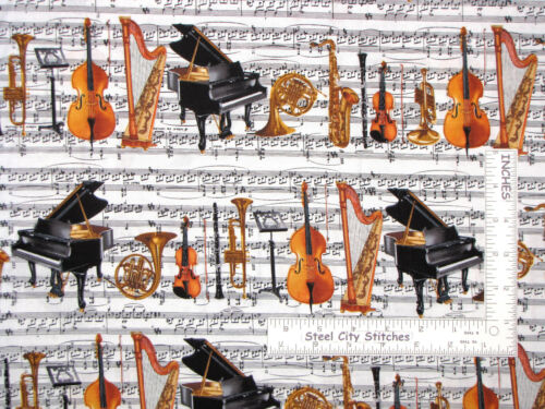 Music Instruments on Sheet Music Cotton Fabric Benartex Concerto By The Yard