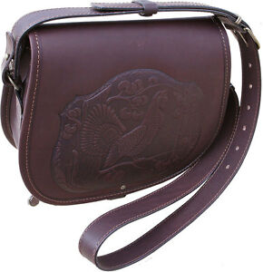 Image is loading Leather-hunting-cartridge-bag-shooting-bag-game-bag-