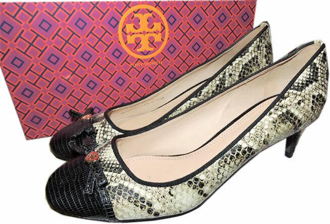 Tory Burch Snake Snake Snake läder Lizard Cap Toe Pumpar 10.5 Logo Bow skor  med billigt pris för att få bästa varumärke