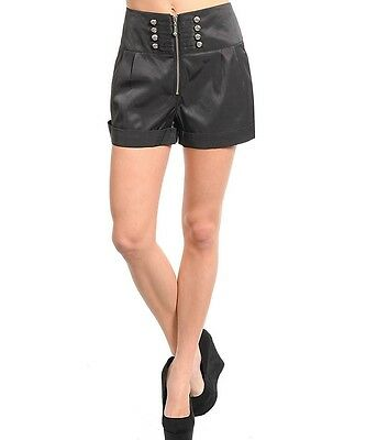 WOMENS short Dress pinup hotpant double button Sailor high waist Sexy S M L Club